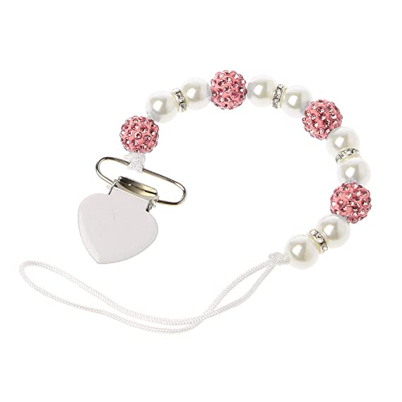 LAST ONE Silver White Heart Romany Crystal Bling baby dummy soother clip chain