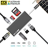 USB C Hub, IVYOCK USB-C Adapter with Type C Charging Port, 4K HDMI Output, SD/Micro SD Card Reader, 3 USB 3.0 Ports for MacBook,Pixelbook,HP Spectre and More Type-C Devices - Space Gray