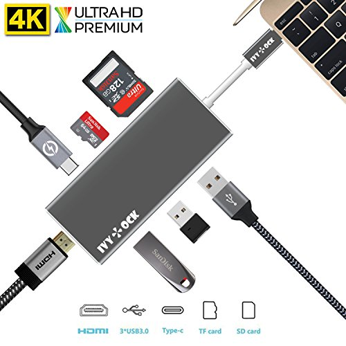 USB C Hub, IVYOCK USB-C Adapter with Type C Charging Port, 4K HDMI Output, SDHC SDXC/Micro SD Card Reader, 3 USB 3.0 Ports for MacBook,Pixelbook,HP Spectre and More Type-C Devices - Space Gray