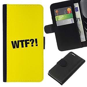 EJOY---La carpeta del tirón la caja de cuero de alta calidad de la PU Caso protector / Apple Iphone 5C / --WTF símbolo de la muestra Negro Signo Amarillo