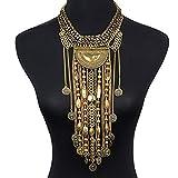 Statement Necklace, SUMAJU Beads Coin Fringe Statement Necklace Gold Plated Bohemian Ethnic Tribal Boho