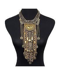 SUMAJU Jewelry Sets, Necklace Earrings Set Bib Pendant Artificial Amber for Women