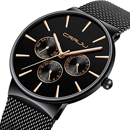 Mens Watches Ultra Slim Quartz Luxury Black Sub Dial Analogue Quartz Watch Men Waterproof Stainless Steel Mesh Belt Strap Classic Design Casual Dress Watch