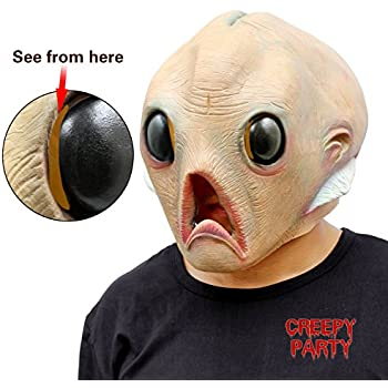 CreepyParty Deluxe Novelty Halloween Costume Party Latex Head Mask Alien  sc 1 st  Amazon.com & Amazon.com: CreepyParty Deluxe Novelty Halloween Costume Party Latex ...
