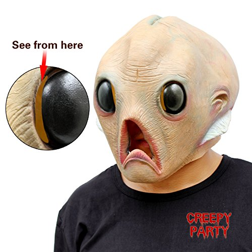 [CreepyParty Deluxe Novelty Halloween Costume Party Latex Head Mask Alien] (Aliens Costume)