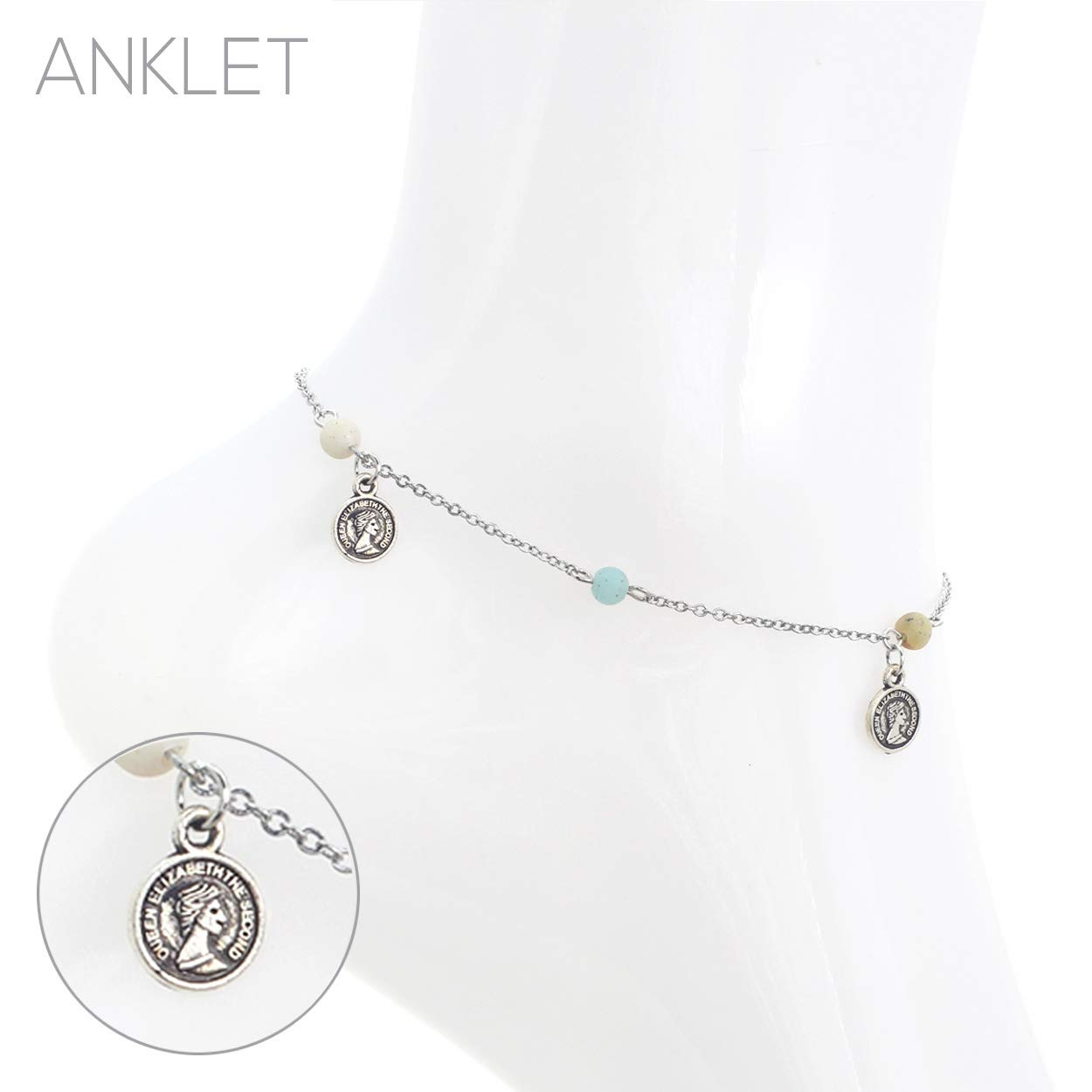 Rosemarie Collections Womens Natural Stone Bead and Disc Coin Chain Ankle Bracelet Anklet