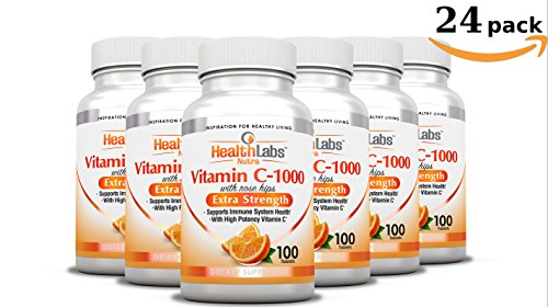 Health Labs Nutra Extra-Strength Vitamin C 1,000mg with Rose Hips (Fast-Acting Non-Chewable Tablets) - Pack of 24 by Health Labs Nutra
