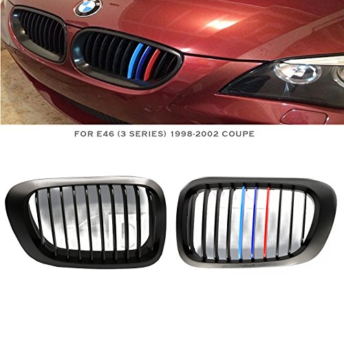 Syneticusa ///M Color For 1998-2002 E46 3-Series 2 Door Coupe Matte Black Front Kidney Grille Grill 2pcs 1999 2000 -