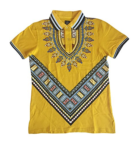 Men's Adult/Youth African Dashiki Inspired Printed Polo Shirt (Large (U.S Adult Small), Yellow)