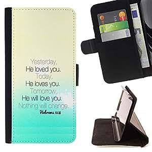 Momo Phone Case / Flip Funda de Cuero Case Cover - BIBLIA ?l le ama - Hebreos 13: 8; - Samsung Galaxy Note 5 5th N9200