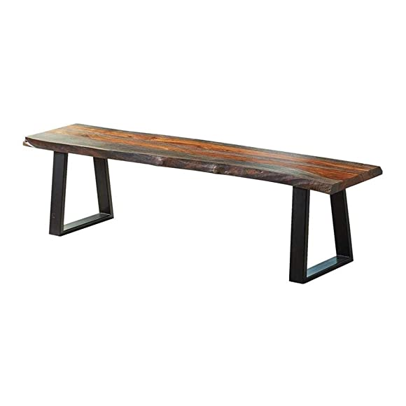 Jamestown Live Edge Dining Bench Grey and Black