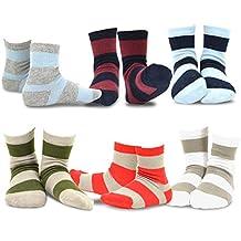 TeeHee Kids Boys Basic Stripe Cotton Crew Socks 6 Pair Pack