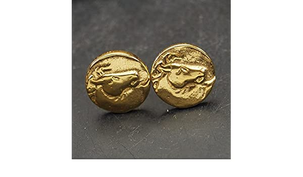 Handmade Stud Horse Coin Earrings Ancient Roman Art Fine Jewelry By Omer