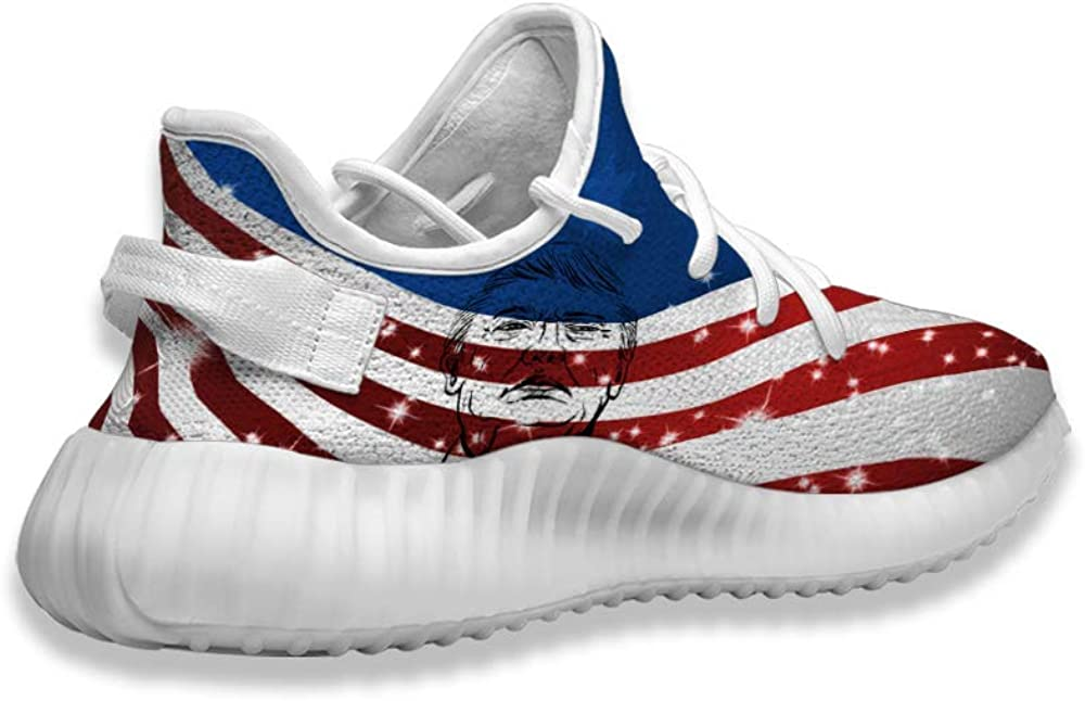KINGSFEET Red Blue Star Trump Classic Print Pattern Custom Shoes Breathable Running Sneakers Casual Walking Sneakers for Women