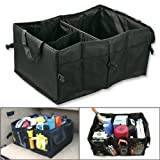 Car Boot Tidy Trunk Organizer, Marrywindix 56CM Multipurpose Black Oxford Fabric Foldable Car Cargo Storage Case for Travel Vacation Camping