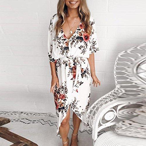 Playa Mini Flores Citas Blanco Bohemio Sexy Vestidos de 5 Maxi Fresco Mujer vestid Elegante para Verano Dama 2018 Fiesta Playa Verano Sonnena Mujeres Vestido Sundrss Verano RnAUwqz0wS