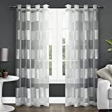 Exclusive Home Navaro Striped Sheer Window Curtain Panel Pair with Grommet Top 54×108 Winter White 2 Piece