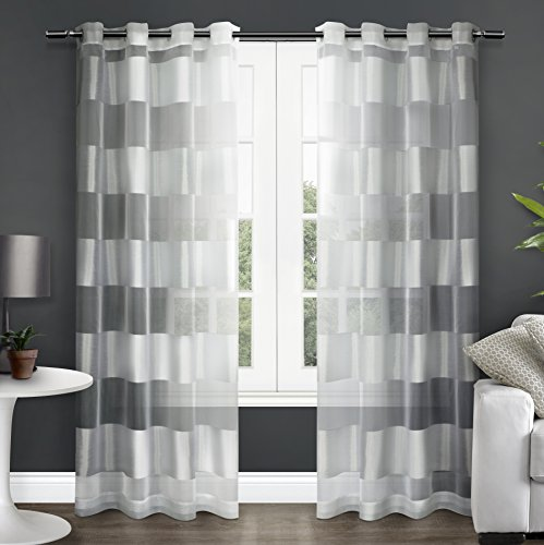 Drapes Stripes Silk Drapery (Exclusive Home Navaro Striped Sheer Window Curtain Panel Pair with Grommet Top, Winter White, 54x96)