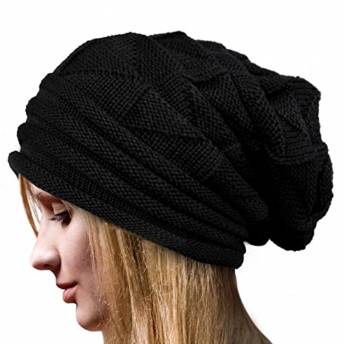 Women Fashion Winter Knit Hat,Crytech Warm Soft Stretch Ruched Crochet Wool Knitted Skully Beanie Cap Slouchy Baggy Long Knitting Skull Snow Ski Hat for Ladies Girls Outdoor (Black)