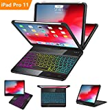 iPad Pro 11 Case with Keyboard 2018 - 360 Rotatable - Wireless BT - Backlit 17 Color - Auto Sleep Wake - Thin & Light - iPad Case with Keyboard【Support Apple Pencil 2nd Gen Charging】