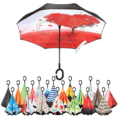 Sharpty Inverted Umbrella, Umbrella Windproof, Reverse Umbrella, Umbrellas for Women with UV Protection, Upside Down Umbrella With C-Shaped Handle (Love Tree) by Sharpty (Image #7)