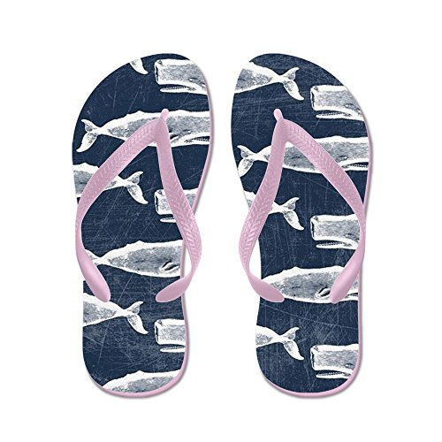 CafePress Vintage Whale Pattern White - Flip Flops, Funny Thong Sandals, Beach Sandals Pink