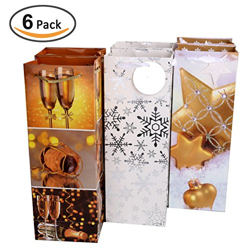 Rumcent Fashion Paper Wine Gift Bag With Tag, Single Bottle Tote, Decorative Glitter Design, Party Favor For Wrap Champagne, Liquor - 3 Assorted Colors Patterns, Total 6 Bags