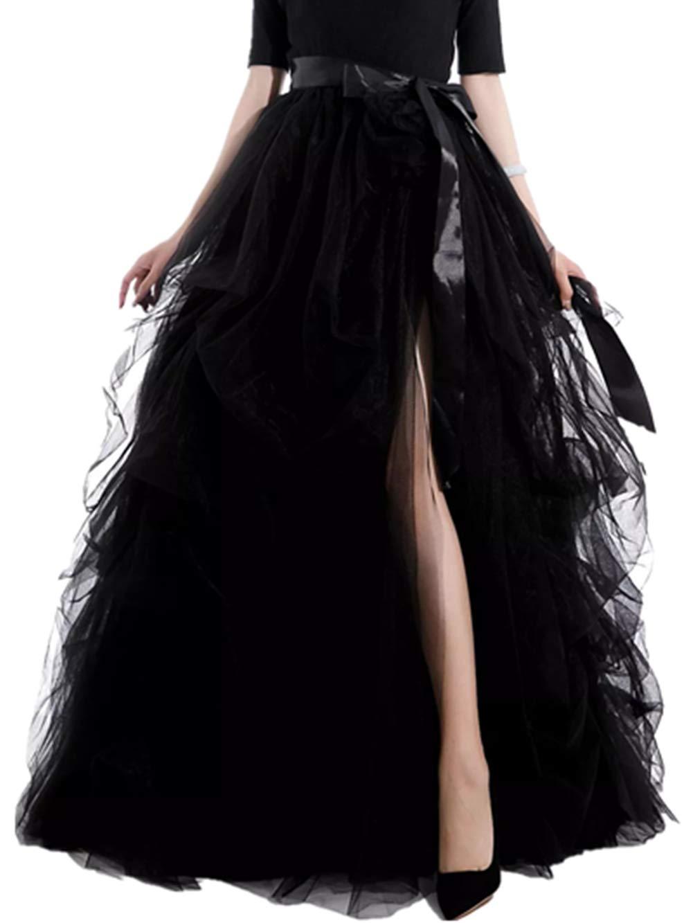 ZHANGQINGHU Women's Long Tutu Tulle Skirt A Line Floor Length Special Occasion Night Out fold SkirtMedium Black by ZHANGQINGHU
