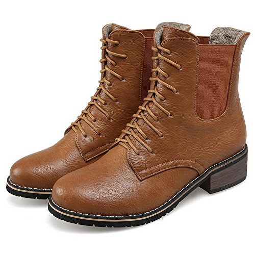 AllhqFashion Womens Low Heels Solid Round Closed Toe Lace Up Boots Brown nkjqea
