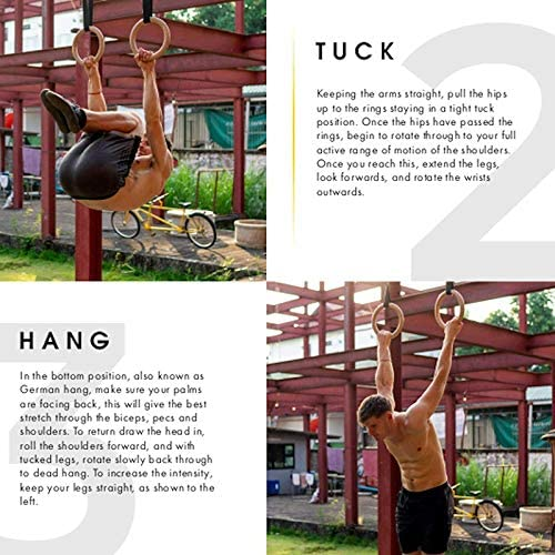 Fintass Anillos de gimnasia de madera ajustables para entrenamiento de fuerza muscular en el hogar con b/ásculas de 28//32 mm equipo de gimnasio para dominadas