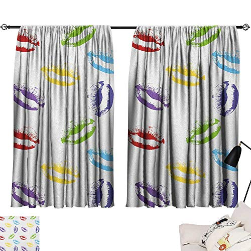 Josepsh Colorful Curtains,Extra Darkening Curtains Make Up Cosmetics Theme Lipstick Colored Lips Kisses Sexy Seductive Feminine Art Curtain Kitchen Multicolor W72 x (Best Pandada Lipsticks)