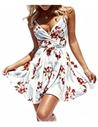 NANYUAYA Womens Floral Print V-Neck Spaghetti Strap Swing Skater Dress with Belt
