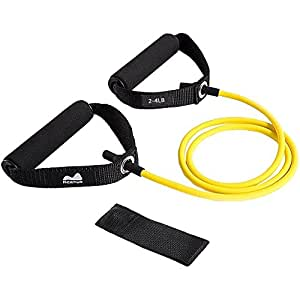 Reehut Single Resistance Band, Exercise Tube - With Door Anchor and Manual Yellow