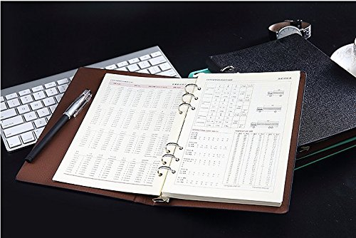 F-bbko 200 page A5 black leather notebook, filled with leather magazine, High qual Thick Paper PU Leather Writing Notebook, Loose Leaf Notebook,Loose Leaf Binder,filled log book,fillable notebook by F-BBKO (Image #6)
