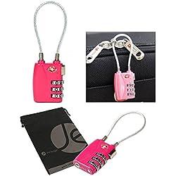 JAVOedge Dark Pink TSA Approved Flexible Wire Clasp 3 Dial Combination Cable Luggage Lock Plus Bonus Drawstring Bag