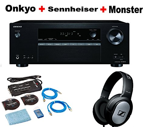 Onkyo-Authentic-Audio-Video-Component-Receiver-Black-TX-SR373-Monster-Home-Theater-Accessory-Bundle-SENNHEISER-HD206-Bundle