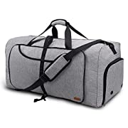 Vogshow Travel Duffel Bag, 55L Foldable Overnight Weekender Bag with Shoes Compartment for Men Women Convertible Luggage…