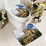 Analisahome Toilet cushion suit castle of segovia spain Non slip, Microfiber Shag, Absorbent, Machine Washable