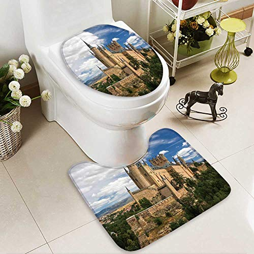 Analisahome Toilet cushion suit castle of segovia spain Non slip, Microfiber Shag, Absorbent, Machine Washable by Analisahome