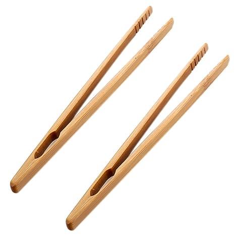 Toruiwa 2X Pinza reckta Pinzas de bambú Mini Pequeño Herramienta hogar y Jardín Herramientas de Cocina