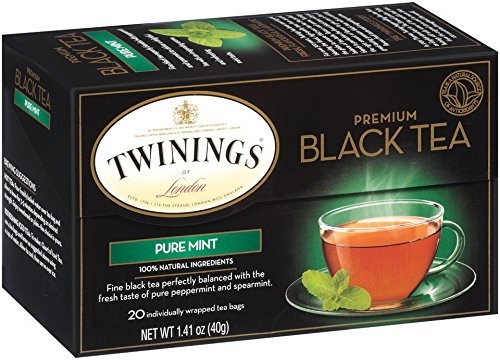 Twinings Flavored Black Tea, Pure Mint, 20 Count Bagged Tea (6 Pack)