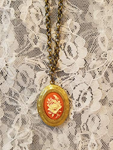Carnelian Rose Cameo Locket Necklace *Reproduction* Antique Gold