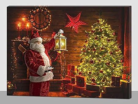 Immagini Natale Luci.Quadro Natalizio Babbo Natale Albero Natale Luci Led Amazon It Casa E Cucina