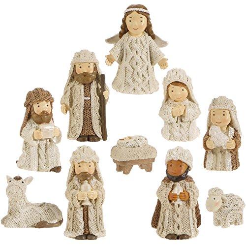 Knit Look Resin 3 Inch Miniature 10 Pc Nativity Set