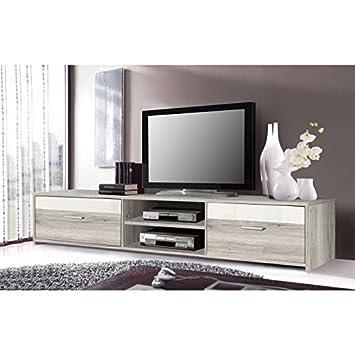 FINLANDEK Meuble TV KATSO 160cm décor chene cendré et blanc brillant