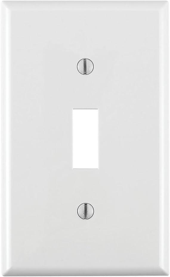 Leviton 80701-W 1-Gang Toggle Device Switch Wallplate, Standard Size, Thermoplastic Nylon, Device Mount, White