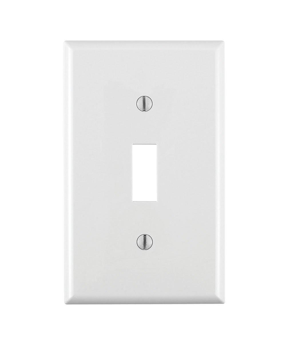 Leviton 80701-W 1-Gang Toggle Device Switch Wallplate, Standard Size ...
