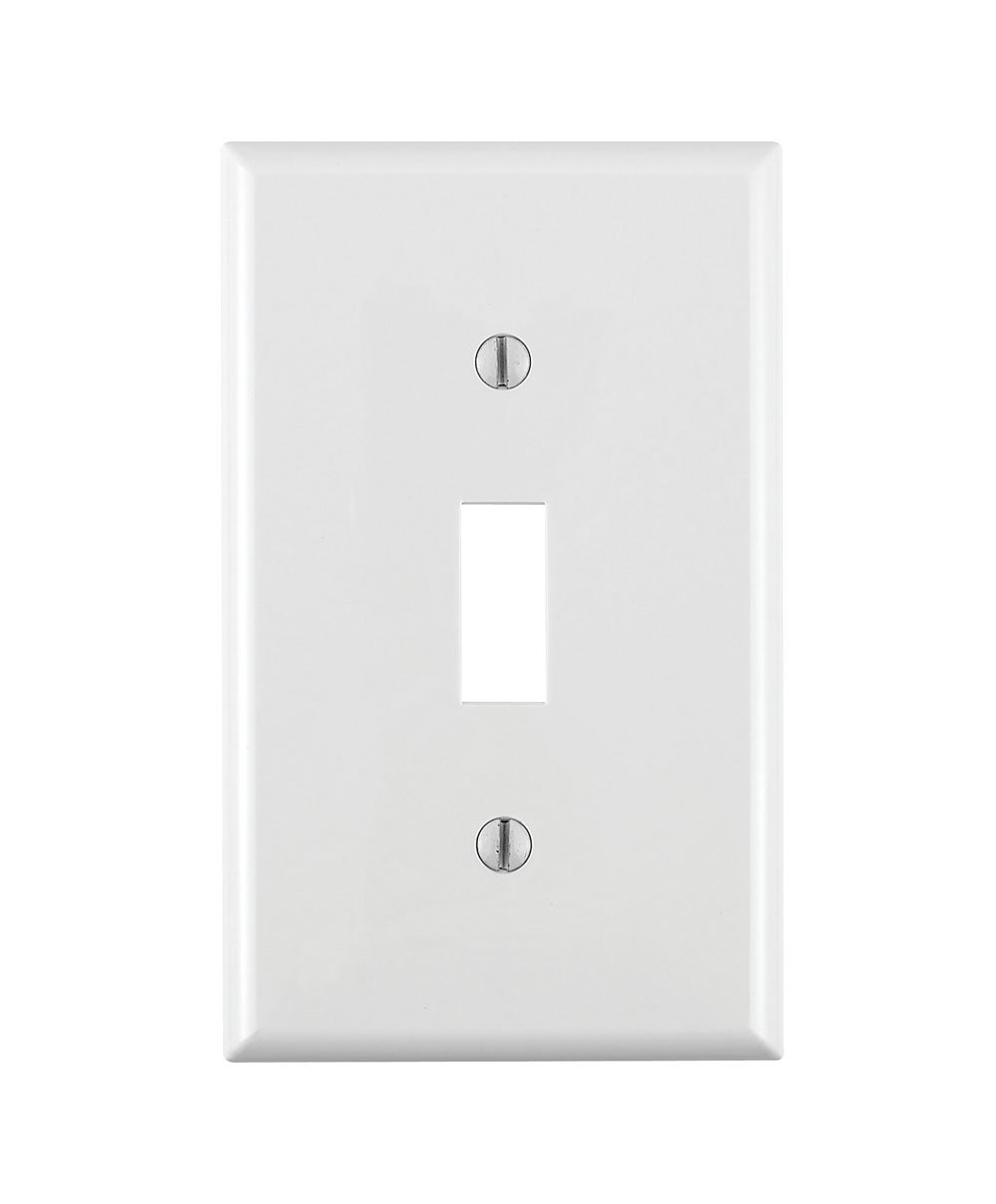 Leviton 80701-W 1-Toggle Standard Size Wall Plate, 1 Gang, 4-1/2 In L X 2-3/4 In W 0.22 In T, Smooth 1 1-Pack, White