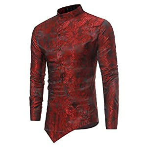 Mens Steampunk Shirt Gothic Ruffle Black White Stylish Grandad Collar Shirts
