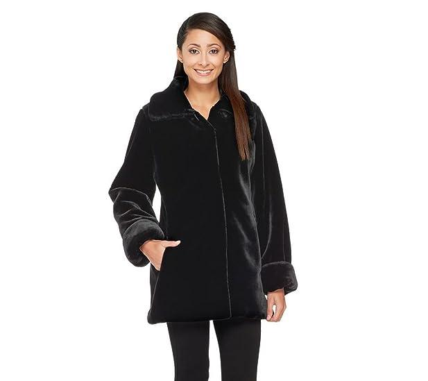 Dennis Basso Faux Sheared Mink Fur Coat A260409 at Amazon Women's ...